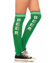 Carnavalskleding kniekousen beer groen wit