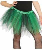 Carnavalskleding korte heksen verkleed tule onderrok groen zwart meisjes