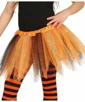 Carnavalskleding korte heksen verkleed tule onderrok oranje zwart meisjes
