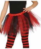 Carnavalskleding korte heksen verkleed tule onderrok zwart rood meisjes