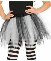 Carnavalskleding korte heksen verkleed tule onderrok zwart wit meisjes