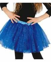 Carnavalskleding korte tule onderrok kobalt blauw meisjes