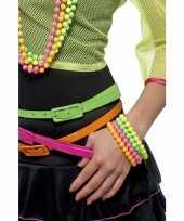 Carnavalskleding kralen armbandjes neon kleurtjes