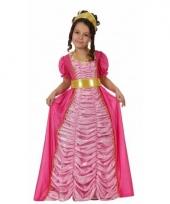 Carnavalskleding lange roze prinsessen jurk kinderen