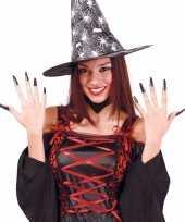 Carnavalskleding lange zwarte heksennagels