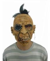 Carnavalskleding latex horror masker enge man dichtgenaaide mond
