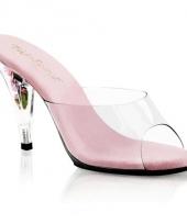 Carnavalskleding licht roze bloemetjes sandaal pumps