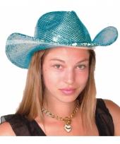 Carnavalskleding luxe blauwe glitter hoeden