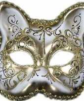 Carnavalskleding luxe dierenmasker kat poes wit goud volwassenen