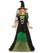 Carnavalskleding luxe heksen jurk ruches groen zwart