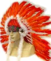 Carnavalskleding luxe indianentooi rood oranje