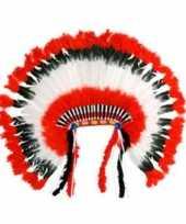 Carnavalskleding luxe indianentooi rood wit zwart