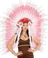 Carnavalskleding luxe roze indianen hoofdtooi