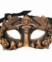 Carnavalskleding luxueus barok zwart brons oogmasker