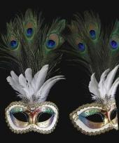Carnavalskleding luxueus italiaans pauwveren oogmasker