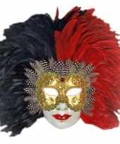 Carnavalskleding luxueus italiaans veren masker rood