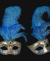 Carnavalskleding luxueus italiaans veren oogmasker blauw