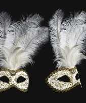 Carnavalskleding luxueus italiaans veren oogmasker wit goud