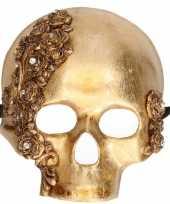Carnavalskleding luxueus schedel masker goud