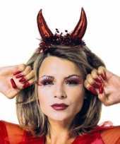 Carnavalskleding metallic rode duivel tiara