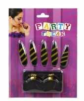 Carnavalskleding nagels wimpers zwart gele strepen