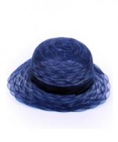 Carnavalskleding navy blauwe ronde hoed dames