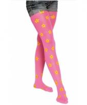 Carnavalskleding neon roze panty bloemen