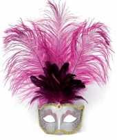 Carnavalskleding oog masker roze veren