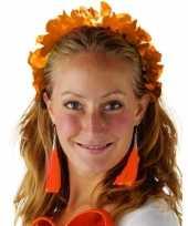 Carnavalskleding oranje bloemenkrans verkleedaccessoire diadeem dames volwassenen