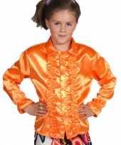 Carnavalskleding oranje blouse rouches kids
