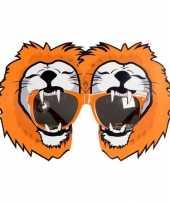 Carnavalskleding oranje feestbril leeuwen