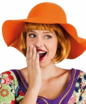 Carnavalskleding oranje flaphoed dames