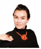 Carnavalskleding oranje ketting