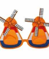 Carnavalskleding oranje molen zonnebril