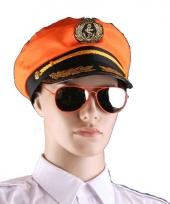 Carnavalskleding oranje piloten bril
