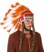 Carnavalskleding oranje witte indianen tooi heren