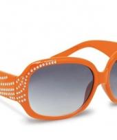 Carnavalskleding oranje zonnebril steentjes