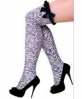 Carnavalskleding overknee kousen zebra print