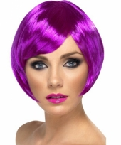 Carnavalskleding paarse damespruiken bob line