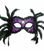 Carnavalskleding paarse oogmaskers veren