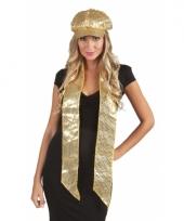Carnavalskleding pailletten sjaal goud