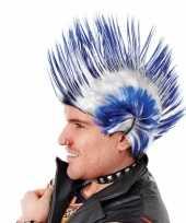 Carnavalskleding punker pruik hanekam blauw wit