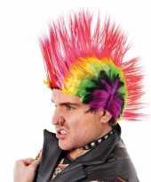 Carnavalskleding punker pruik hanekam gekleurd