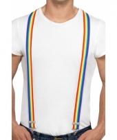 Carnavalskleding rainbow kleuren bretels