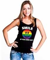 Carnavalskleding regenboog emoticon smile if you are gay mouwloos shirt tanktop zwart dames