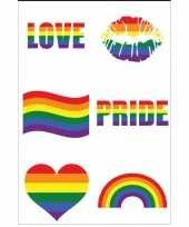 Carnavalskleding regenboogvlag kleuren plaktattoos stuks