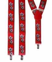 Carnavalskleding rode bretels bloemen edelweiss