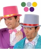 Carnavalskleding rode hoge hoed vilt gouden lint