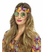 Carnavalskleding ronde bril groene spiegelglazen volwassenen