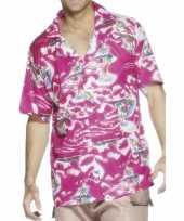 Carnavalskleding roze hawaii overhemd